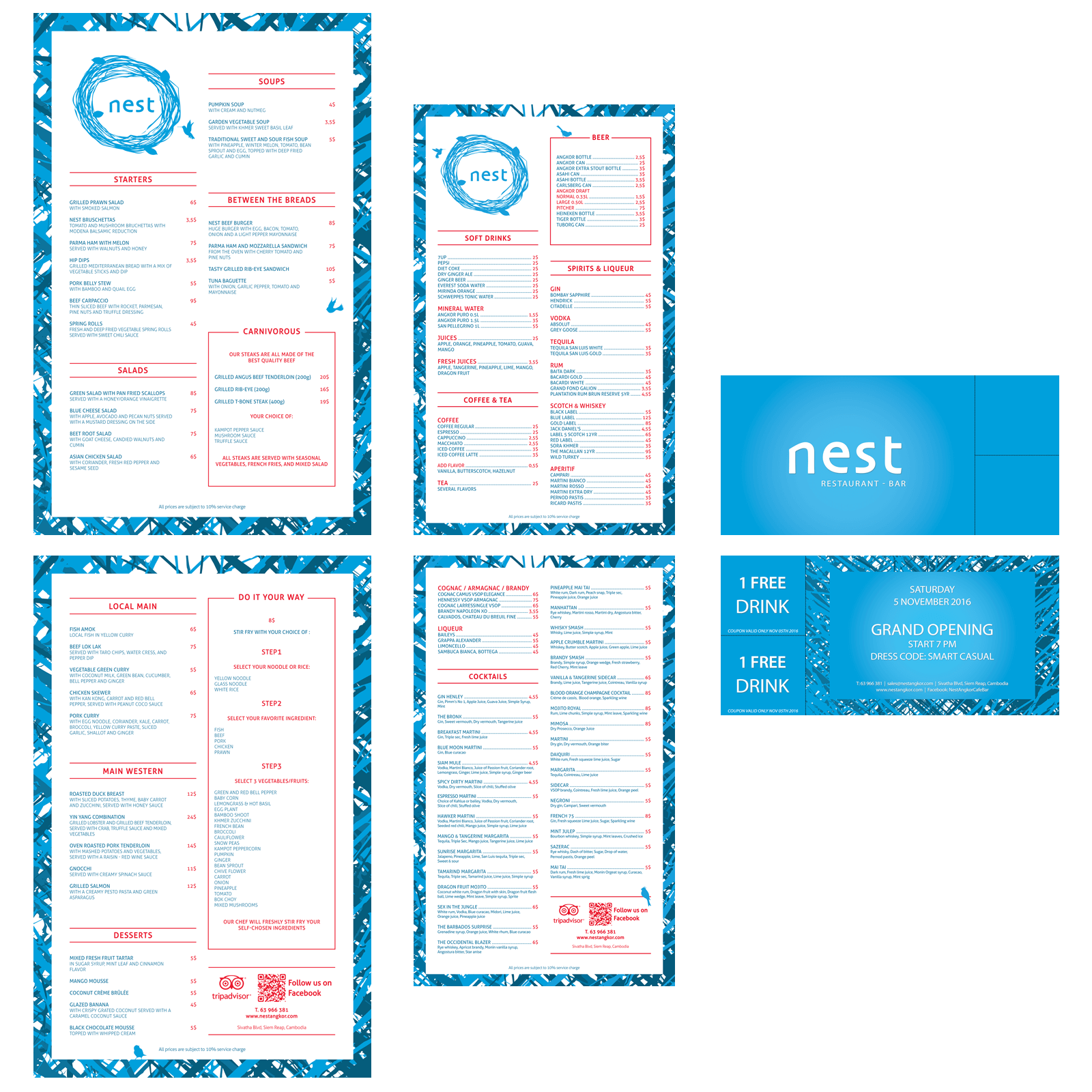 Food and Drink Menus, Invitation Card - Nest Restaurant - Siem Reap